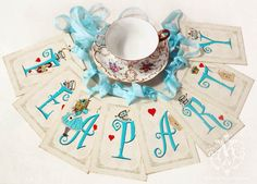 Alice in Wonderland Tea Party bunting, paper garland, party decoration, high tea, shower tea, baby shower via Etsy