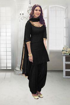 Party Wear Black Poly Cotton Slit Salwar Suit - 71324B