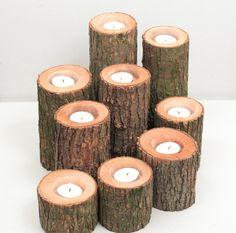 Rustic Wedding Cabin Decor Candle Holder Log Wood Tree. $11.00, via Etsy.