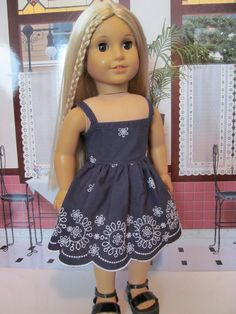 Navy Embroidered  Sundress , American Girl Doll Clothes. $18.00, via Etsy.