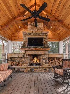 Outdoor living addition in Biltmore Park near Asheville, NC. Backyard Pavilion, Outdoor Pavilion, Backyard Patio Designs, Patio Ideas, Backyard House, Backyard Landscaping, Outdoor Fireplace Designs, Backyard Fireplace, Outdoor Fireplaces