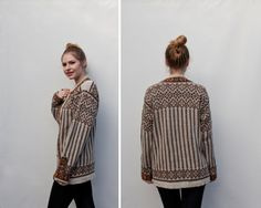 idea, no pattern available Knitting Designs, Knitting Projects, Crochet Projects, Rosemaling Pattern, Norwegian Knitting, Hand Knitted Sweaters, Knitwear Fashion, Nordic Style, Vintage Sweaters