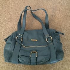 Gorgeous, EUC Michael Kors purse Buttery soft leather. Soft, steel blue.  No scratches or signs of wear. This really is in perfect condition. Michael Kors Bags Shoulder Bags