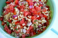 Marinated Corn Salad - Garden fresh corn, sweet bell peppers, tomatoes and some red onion, combine with a sweet and sour vinegar and oil dressing for a wonderful summer salad!