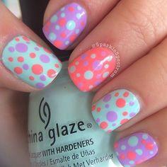 Mint, Orange & Purple Polka Dot Nail Art