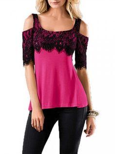 Women Short Sleeve Slash Neck Lace Stitching Slim T-shirt