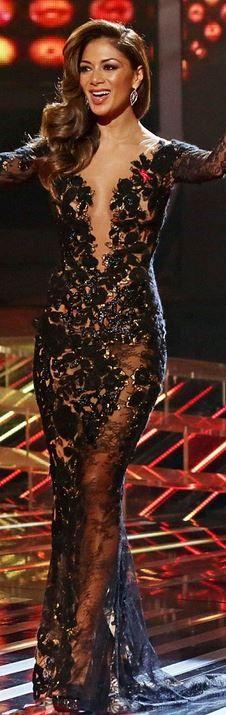 Nicole Scherzinger: Earrings – Stephen Webster Shoes – Christian Louboutin  Dress – Nicolas Jebran