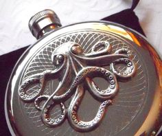 Octopus Flask Incredible ROUND Shape Stainless Steel with Raised Silver Octopus Gothic Victorian Design Embellishment - The Ultimate Nautical STEAMPUNK Accessories From Cosmic Firefly Las Vegas