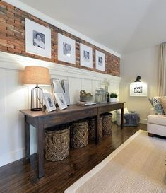 Did y'all ❤️ the family room wall we built for Open Concept on @hgtv? We have tutorials for the brick wall and board and batten wall on our site! ❤️ You can see lots of before and after pics of the house by clicking the link in our profile! I tagged all the sources so just click the pic to see where we found all the goodies! #openconcept #hgtv #lovehgtv