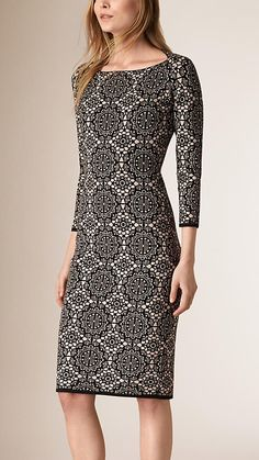 Lace Jacquard Silk Blend Shift Dress | Burberry
