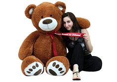 a376d41bfb2 Big Plush 5 Foot Giant Teddy Bear 60 Inch Soft Brown Wears HE LOVES ...