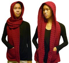 Gorgeous!!  Crochet pattern for a hooded scarf... Making for next football season!