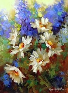 """Daily Paintworks - """"Daisy Dance With Delphiniums a..."""" by Nancy Medina"""