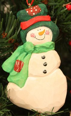 Christmas Gift, Snowman Ornament, Hand Carved, Hand Painted, Woodcarvers Of…