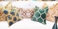 Double-sided, hand-loomed, Silk Velvet Ikat Pillows