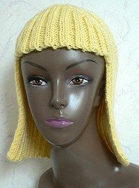 """Knit chemo cap """"Hallowig"""" - Check out """"Patterns List"""" link at bottom of page.  Or this could be a fun Halloween wig if made in neon colored yarn!"""