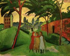 Macke Kunstdruck Landschaft mit drei Mädchen