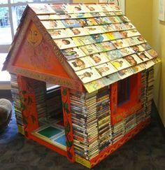 Kinderboekenhuis van afgevoerde boeken