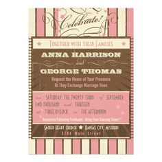 Rustic Poster: Strawberry Mousse Custom Wedding Custom Announcements