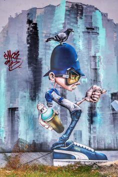 By SmogOne via Street Art Infinity Street Wall Art, Urban Street Art, Murals Street Art, Street Art Graffiti, Graffiti Cartoons, Graffiti Characters, Amazing Street Art, Best Street Art, Graffiti Artwork
