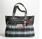 #goldearrings - NEW COACH POPPY TARTAN PLAID SILVER METALLIC LARGE TOTE PURSE BAG 15886 - http://pinfollow.me/categories/womens-fashion/designer-handbags-purses/new-coach-poppy-tartan-plaid-silver-metallic-large-tote-purse-bag-15886/