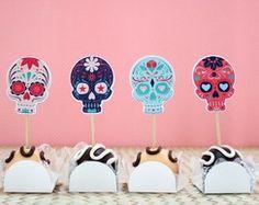 Kit - Topper para doces-caveira mexicana