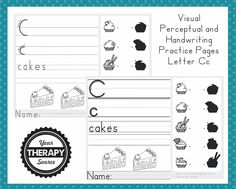 Visual Perceptual and Handwriting Practice Page Letter Cc - Your Therapy Source Handwriting Sheets, Improve Your Handwriting, Improve Handwriting, Handwriting Analysis, Nice Handwriting, Handwriting Worksheets, Writing Lines, Pre Writing, Kids Writing