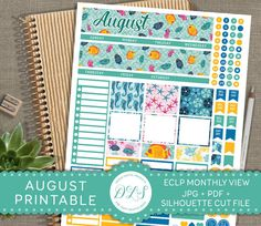 AUGUST Monthly View ECLP Planner Stickers Ocean Planner Sea Life Fish Seahorse Underwater World Green Yellow Blue Digital Stickers MV102