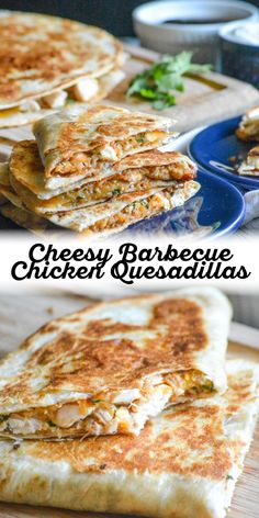 Lunch, dinner, even a Game Day snack these quick & easy Cheesy Barbecue Chicken Quesadillas are sure to be a home run with whatever crew you're serving. Packed with cheese and chicken, these are perfect for a party or for a fun lunch with the kids. #familyfriendly #quesadillas #lunchrecipe