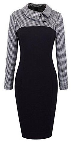 online shopping for YUNICUS Women's Retro Chic Colorblock Lapel Career Tunic Dress from top store. See new offer for YUNICUS Women's Retro Chic Colorblock Lapel Career Tunic Dress Plus Size Maxi Dresses, Short Sleeve Dresses, Long Sleeve, Mode Outfits, Fashion Outfits, Fashion Top, Fashion Black, Fashion 2018, Womens Fashion