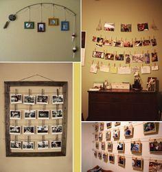 Ideias para expor as fotografias em casa. São uma alternativa aos quadros convencionais. Eu ADOREI!