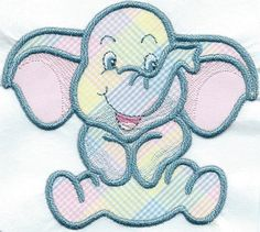 Playful Elephant Iron-on Applique Patch 5 x 5 by QUILTSRUS08