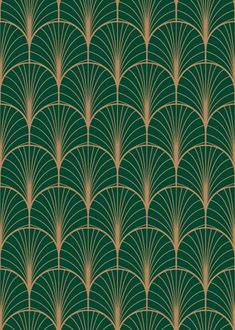 The Emerald Deco Pattern Mural Wallpaper is a stunning choice to infuse an art deco-inspired look into your space. A rose gold fan design repeats across a rich emerald green backdrop.  Custom Sizing. Quality Materials. Free US Shipping