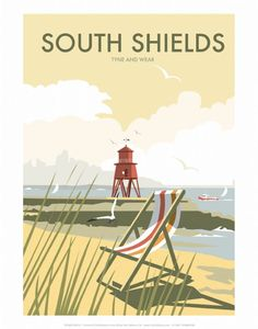 South Shields Tyne and Wear print by Dave Thompson A striking 11x14 print of South Shields featuring the well-known Herd Groyne Lighthouse Dave