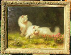 Beno Boleradszky (1885-1957, Hungarian). Two Persian White Cats on the Grass. A painter of animals, most importantly of cats, Boleradsky was born in Gyuro, Hungary in 1885 and studied at the School of Fine Arts in Budapest.   eBay!