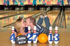 ADORABLE!  Bowling Alley engagement session by Simply You! Photography.     SALE Fancy Edges Chalkboard Painted Sign by SimplyChalk on Etsy, $10.00