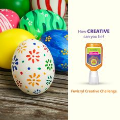 Create Easter Eggs using Fevicryl 3D Outliners using the waste material.