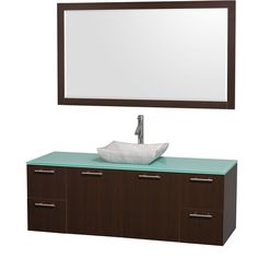 Modern clean lines and a truly elegant design aesthetic define this Amare single vanity set from the Wyndham Collection. An arced, marble basin sink sits atop stunning green glass then combines with espresso-finished wood to complete this bathroom decor.
