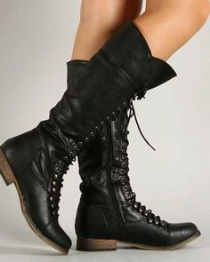 Black Knee High Lace Up Boots | eBay