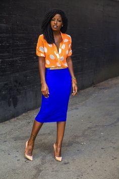 Orange Polka Dot Shirt + Blue Pencil Skirt