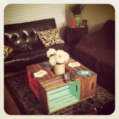 DIY Crate Coffee Table: Pop-of-Color version