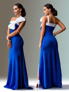 Robe de soirée élégante bleu de Cobalt, robe pour un dîner de fête, demoiselle d