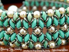 Turquoise colored seed beads are woven with creamy pearl glass beads and new gunmetal O beads to create this southwest Bead Jewellery, Beaded Jewelry, Jewelery, Beaded Bracelets, Super Duo Beads, Twin Beads, Do It Yourself Fashion, Bead Weaving, Making Ideas