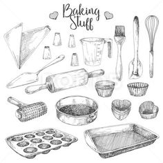 Set of dishes for baking. Baking stuff Vector illustration in sketch style. Illustration Sketches, Art Sketches, Observational Drawing, Sketches Tutorial, Baking Set, Free Vector Art, Recipe Stickers, Artsy, Clip Art
