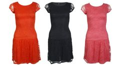 New Womens Sexy Party Celebrity Style Drop Waist Lace 40's Retro Inspired Dress