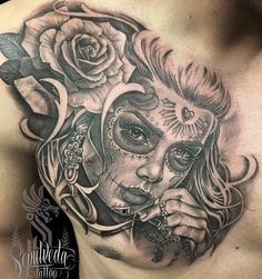 Photo by (sepulvedatattoo) on Instagram |  #dayofthedeadgirl, #catrinatattoo, #detailking, #mexicanstyle