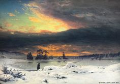 Fanny Churberg (1845-1892) Talvimaisema, auringon mailleen mentyä / Winter landscape, the sun glanced lands 1880 - Finland