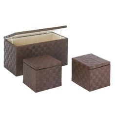 """by Accent Plus Here's a beautiful storage solution that you can use throughout your home! This three-piece nesting storage trunk set is made from woven paper rope over a wooden frame. Inside is cotton lining. They look fantastic while keeping clutter hidden away.  Large: 27 1/2""""x 13 5/8"""" x 14 1/4"""" high; small: 12"""" x 11"""" x 10"""" high.  allgooddecor.com  #allgooddecor #furniture #accents #decor #gifts #decorations #lighting #candles #mirrors #figurines #fountains #outdoor #toys"""