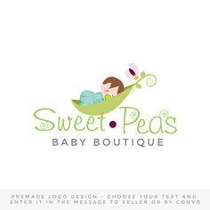 Premade Logo design  baby logo sweet pea logo baby by OaksOfGold