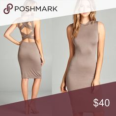 Back Strap Design Bodycon Midi Dress Back strap design bodycon midi dress  Color: Mocha  Features: -Sleeveless -Fitted style  -Open back with crisscross strap design -Midi length Boutique Dresses Midi